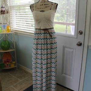Lily Rose Maxi Belted Creme Spaghetti Strap Dress
